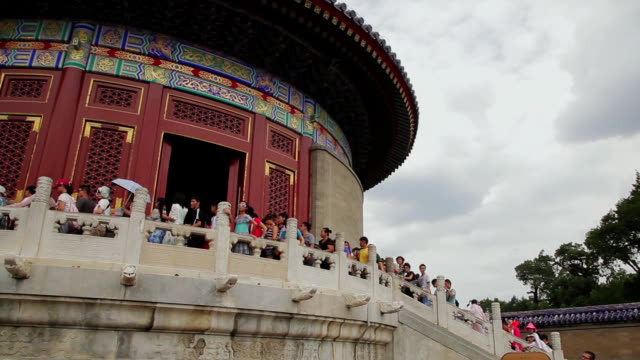 ms pan shot of tourists visiting temple of heaven park / beijing, china - temple of heaven stock videos & royalty-free footage