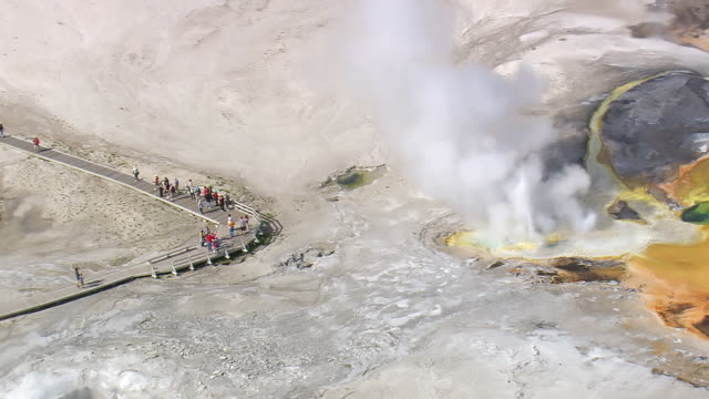 ms aerial shot of tourists walking on walkway near hot water fountain group at yellowstone national park / wyoming, united states - geyser stock videos & royalty-free footage
