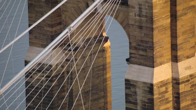 CU TD AERIAL Shot of tower and suspension wire and John Roebling Suspension Bridge / Cincinnati, Ohio, United States