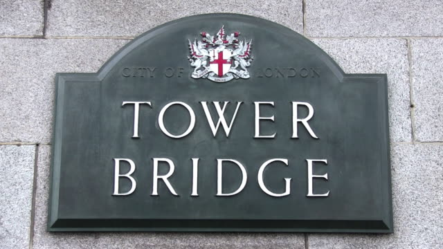 cu shot of tower bridge sign / london, great britain  - direction stock videos & royalty-free footage