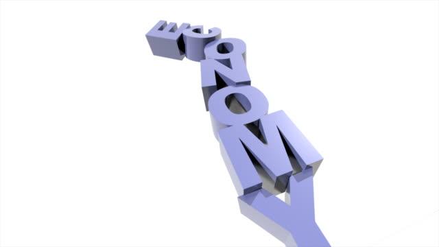 vídeos y material grabado en eventos de stock de ms pan shot of tower of blue letters spelling out word 'economy' tumble to floor, some of them bounce - ortografía