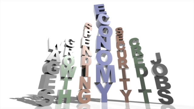 vídeos y material grabado en eventos de stock de ms pan shot of tower of stacked letters spelling out 'economy' tumbles and demolishes six adjacent towers that had spelt out words 'spending,' 'growth,' 'wages,' 'security,' 'credit' and 'jobs' - ortografía