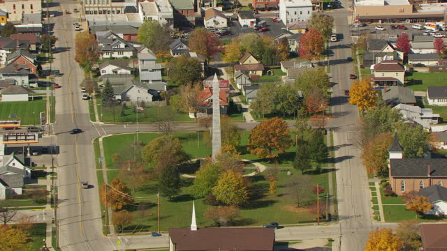 ws ts zi aerial shot of town and fort recovery monument / dayton, ohio, united states - small town stock videos and b-roll footage