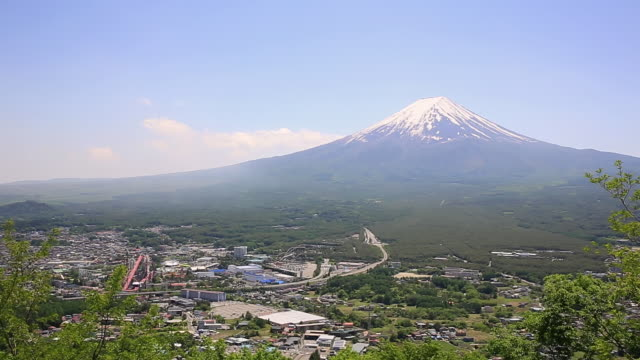 WS ZO Shot of town at foot of Mt. Fuji / Fujiyoshida, Yamanashi, Japan
