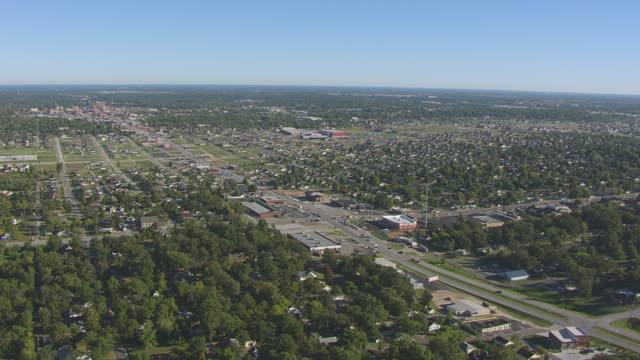 ws aerial ds td shot of town buildings / joplin, missouri, united states - missouri stock videos & royalty-free footage