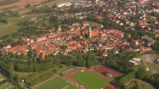 MS AERIAL ZI Shot of town Gronau / Germany