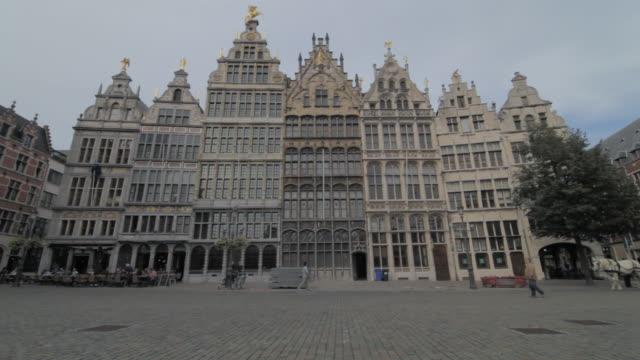 ms shot of town square / antwerp, belgium - arbeitstier stock-videos und b-roll-filmmaterial