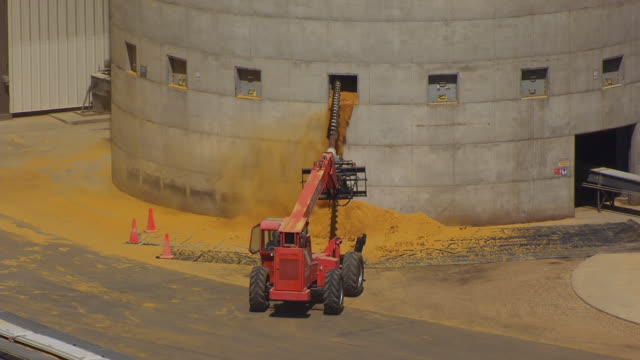 vídeos de stock, filmes e b-roll de ms aerial ts shot of tractor drilling into silo and white corn powder spilling out of window of silo and door at poet renewable energy plant / chancellor, south dakota, united states - etanol