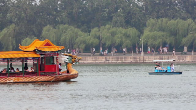 MS Shot of traditional Dragon Boat on Kunming Lake in Summer Palace / Beijing, China