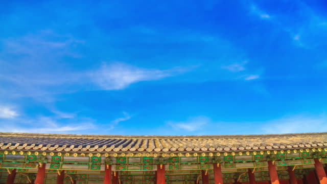 cu t/l shot of traditional eaves and cloudscape of changgyeonggung (one of five grand palaces of joseon dynasty in seoul) / seoul, south korea - eaves stock videos and b-roll footage