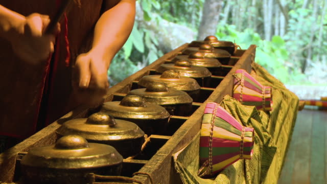 cu shot of traditional kadazan gongs audio / kota kinabalu, sabah, malaysia   - kadazan people stock videos and b-roll footage