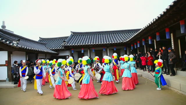 ms shot of traditional korean music performance group playing in namsan folk village audio / seoul, south korea - korean culture stock videos & royalty-free footage