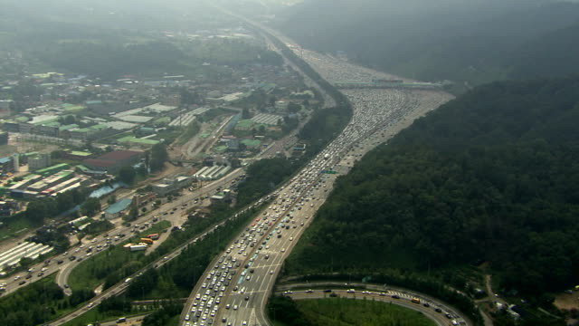 Shot of traffic jam on the highway near Dongseoul tollgate