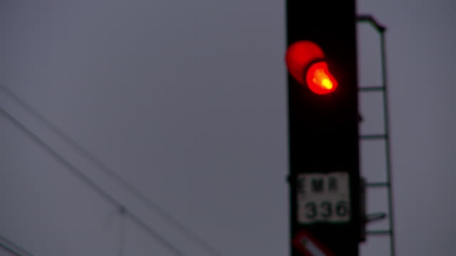 CU R/F Shot of traffic light on train track / South Africa