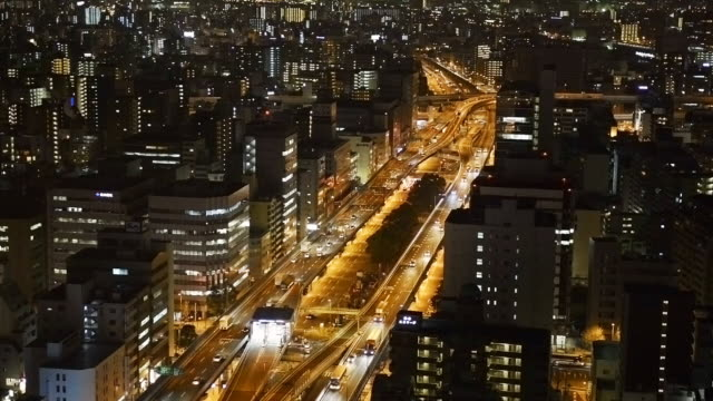 MS Shot of traffic moving on bridge at night with city scape / Osaka, Japan