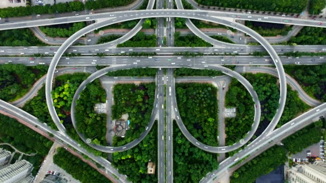 T/L AERIAL Shot of traffic moving on overpasses at sunset/Xi'an,China.