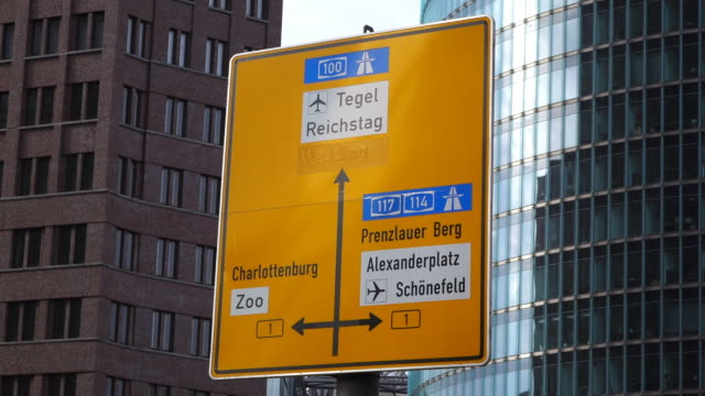CU Shot of traffic sign at Potsdamer Platz / Berlin, Germany