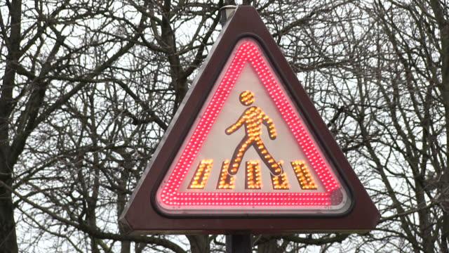cu shot of traffic sign / paris, ile de france, france - triangle shape stock videos & royalty-free footage