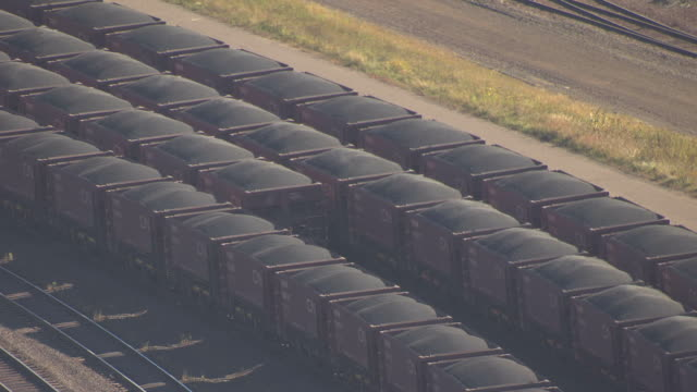 CU AERIAL Shot of train cars filled with ore / Minnesota, United States