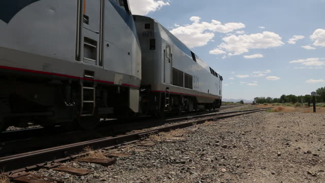 ms tu shot of train moving on track / lamy, new mexico, united states - lamy new mexico stock videos and b-roll footage