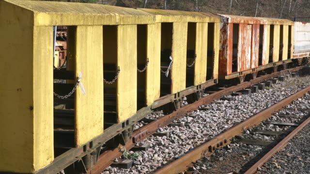 ms shot of transport railway bogie museum les mineurs wendel / petite rosselle, lorraine, france - lorraine bildbanksvideor och videomaterial från bakom kulisserna