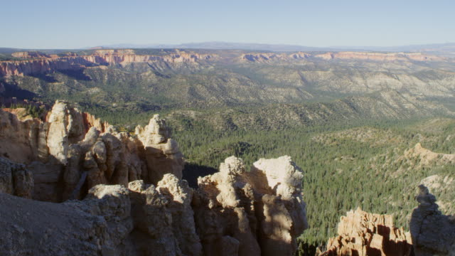 WS Shot of tree-lined valley and multi-colored plateaus / Bryce Canyon, Utah, United States