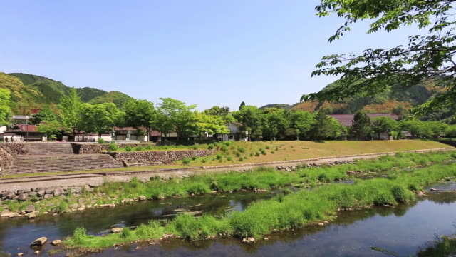 ws pan shot of tsuwano, called small kyoto in west japan / tsuwano, shimane prefecture, japan  - shimane prefecture stock videos & royalty-free footage