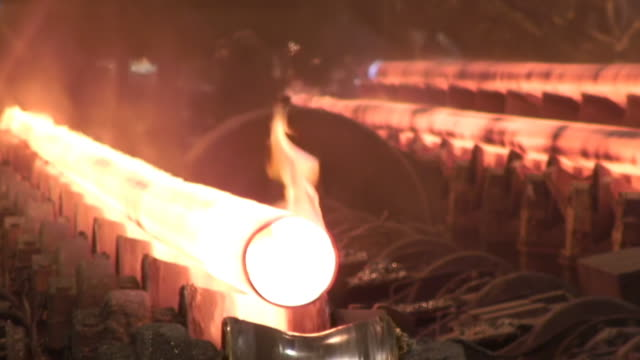 MS Shot of tube production at steel mill / Mulheim, North Rhine Westphalia, Germany