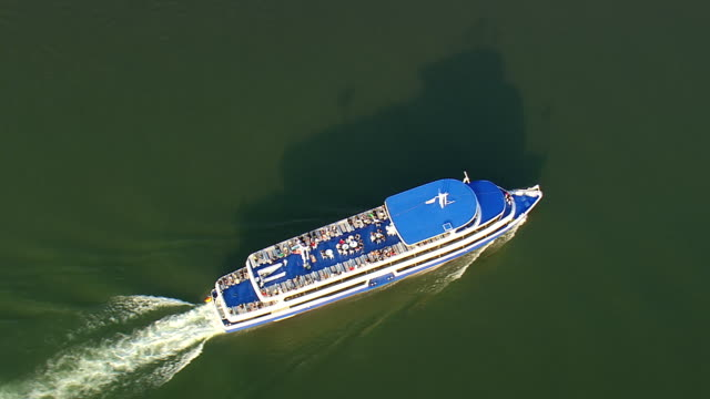 ms aerial ds shot of tug boat moving in river at upper middle rhine valley / germany - river rhine stock videos and b-roll footage