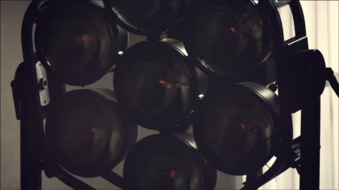 vídeos y material grabado en eventos de stock de shot of turning film lighting equipment on and off - group of objects