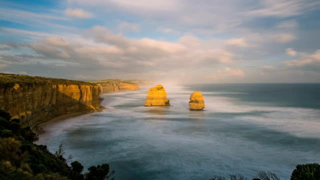 shot of twelve apostles sea rocks at port campbell national park - port campbell national park stock videos & royalty-free footage