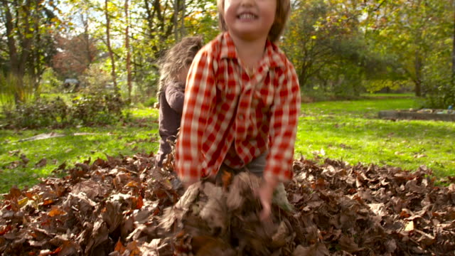 WS SLO MO DS Shot of two kids playing in leaves / Tivoli, New York, United States