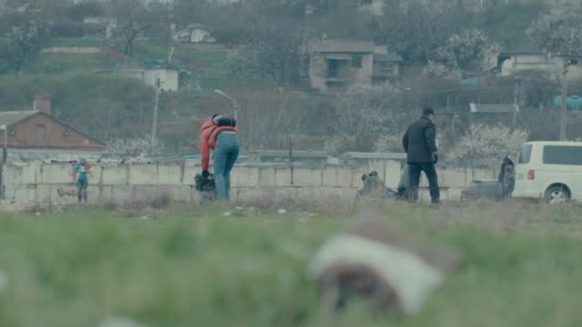 shot of two volunteers bending and picking up litter into plastic bags in sevastopol crimea - sevastopol crimea stock videos and b-roll footage