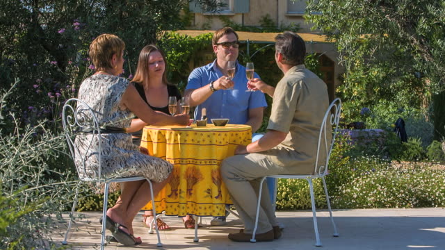 stockvideo's en b-roll-footage met ms shot of two women and two man having apero in beautiful garden and swimming pool / st. remy de provence, provence, france - formele tuin