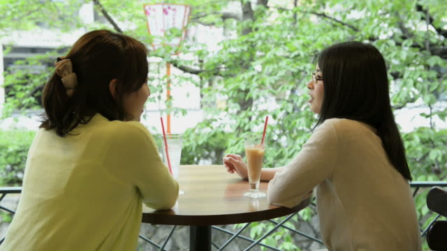 ms shot of two women are talking happily and drinking drink in cafã© / kyoto, japan - カフェテリア点の映像素材/bロール