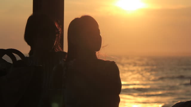 ms shot of two young women at cafe / shonan, kanagawa, japan - back lit woman stock videos & royalty-free footage