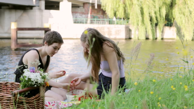 "stockvideo's en b-roll-footage met ""ms shot of two young women sitting by spree river, germany, picnicking and eating strawberries / berlin, germany"" - picknick"