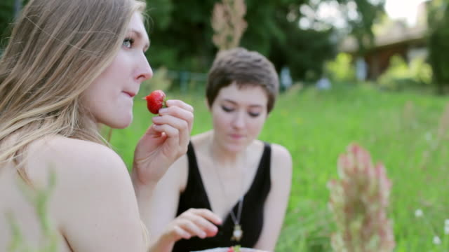 'CU TU Shot of Two young women sitting by Spree river, picnicking and eating strawberries / Berlin, Germany'