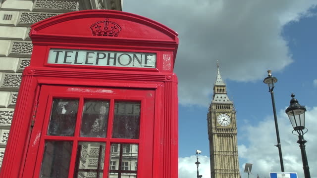MS Shot of typical telephone cabin and Big Ben / London, United Kingdom