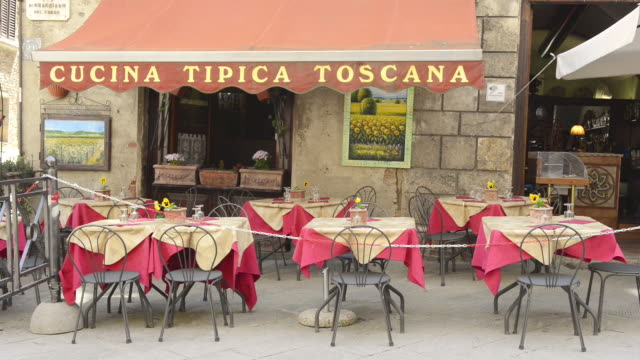 MS Shot of Typical Tuscany restaurant / Montepulciano, Tuscany, Italy