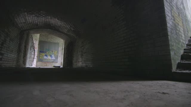 WS Shot of Underground subway / Cumberland Railway Station, Nr. Glasgow. Scotland, United Kingdom