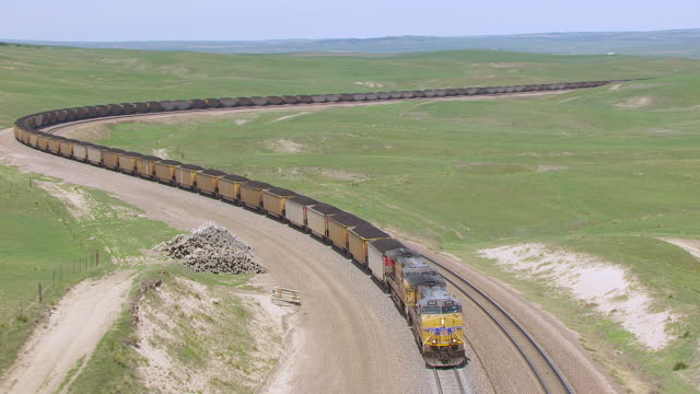cu aerial ts zo shot of union pacific train moving/ alliance, nebraska, united states - rail freight stock videos and b-roll footage
