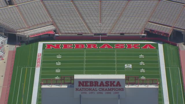 CU AERIAL Shot of University of Nebraska Memorial Stadium / Lincoln, Nebraska, United States
