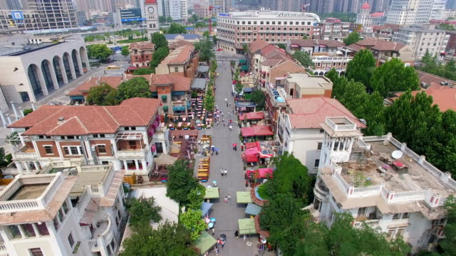 aerial shot of urban cityscape/tianjin,china - 新疆ウイグル自治区点の映像素材/bロール