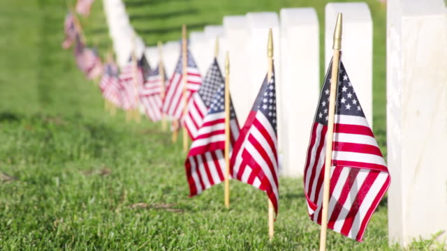 ms shot of us flags on memorial day at the veterans cemetery / los angeles, california, united states - us memorial day stock videos & royalty-free footage