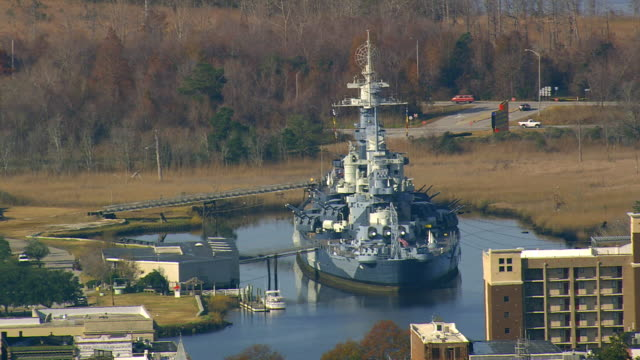 MS AERIAL Shot of USS North Carolina Battleship Museum at Wilmington / North Carolina, United States