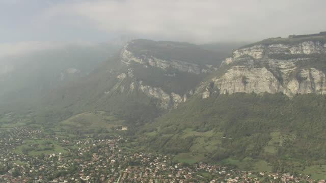ws aerial shot of valley near grenoble / rhone alpes, france - grenoble stock-videos und b-roll-filmmaterial