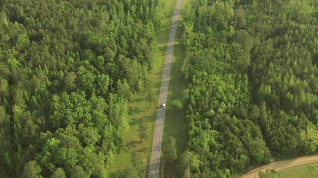 WS AERIAL ZI TS Shot of van on road through countryside with trees in Choctaw County / Mississippi, United States