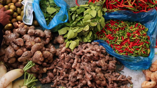 CU PAN Shot of various colorful vegetables / Luang Prabang, Laos