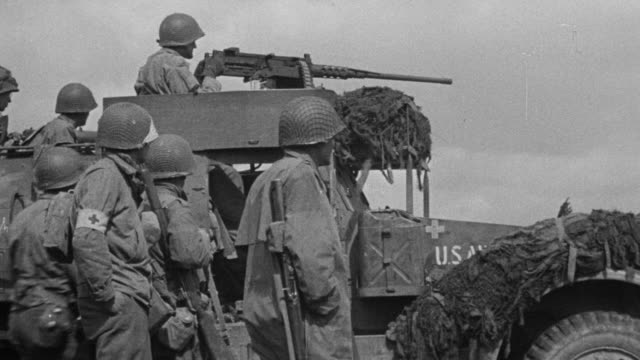 WS Shot of Various scenes of Military news reel footage at war
